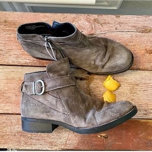 Born leather buckle strap slouchy ankle booties